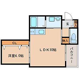 近鉄橿原線 橿原神宮前駅 徒歩2分の賃貸アパート 2階1LDKの間取り