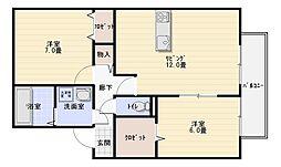ディアコート91B棟[1階]の間取り