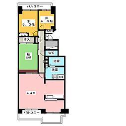 ダイアパレス東白壁B棟703号室[7階]の間取り