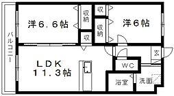 静岡県浜松市東区宮竹町の賃貸マンションの間取り