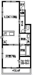 徳島県徳島市川内町大松の賃貸アパートの間取り