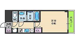 スプランディッド天王寺パークサイド 12階1Kの間取り