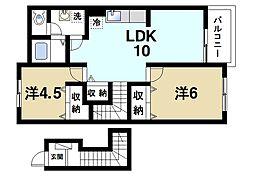 ヴェルドミールB 2階2LDKの間取り