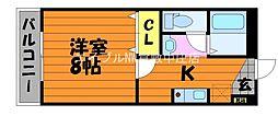 水島臨海鉄道 栄駅 3.5kmの賃貸マンション 3階1Kの間取り