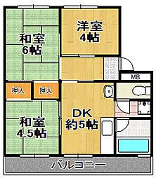 松本第1マンション[4階]の間取り