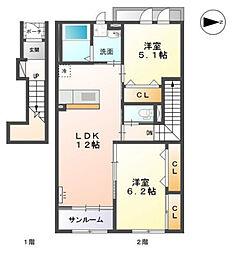 高木西賃貸アパート新築工事[202号室]の間取り
