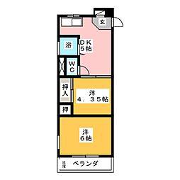 コーポ山田[1階]の間取り