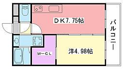 阪神本線 今津駅 徒歩5分の賃貸マンション 3階1DKの間取り