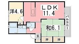 シャーメゾン米田B[202号室]の間取り