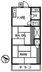 コーポ須賀[201号室]の間取り
