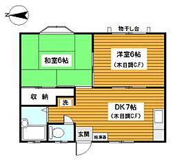 神奈川県横浜市西区宮ケ谷の賃貸アパートの間取り