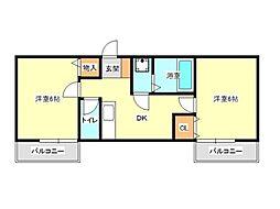 兵庫県神戸市垂水区城が山5丁目の賃貸アパートの間取り