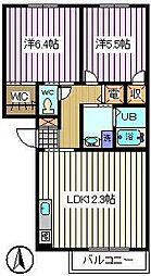 埼玉県さいたま市中央区大戸1丁目の賃貸アパートの間取り