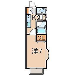 サンハウスW 1階1Kの間取り