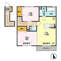 栃木県栃木市薗部町4の賃貸アパートの間取り