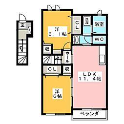 岐阜県本巣市小柿の賃貸アパートの間取り