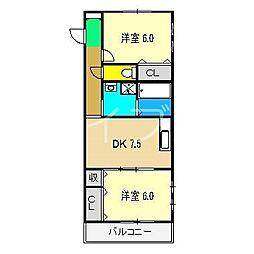ブルージュtakasone[2階]の間取り
