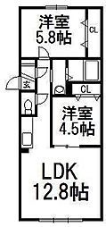 北海道札幌市豊平区平岸三条13丁目の賃貸マンションの間取り