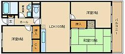 大阪府藤井寺市藤井寺4丁目の賃貸マンションの間取り