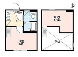 小田急小田原線 相武台前駅 徒歩5分の賃貸アパート 2階1Kの間取り