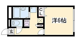 レオパレスObuRyusei 2階1Kの間取り