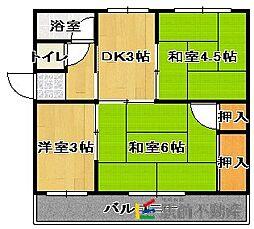 神埼アパートD[202号室]の間取り