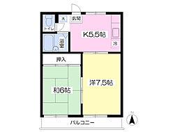 パークサイドハウス 2階2Kの間取り