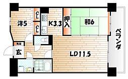 レーベンスフロイデ小倉[13階]の間取り