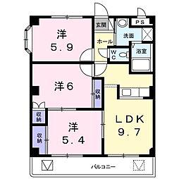 東京都八王子市館町の賃貸マンションの間取り