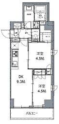 東京メトロ南北線 白金高輪駅 徒歩8分の賃貸マンション 7階2DKの間取り