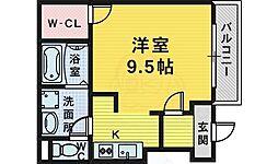南海高野線 萩原天神駅 徒歩10分の賃貸アパート 1階ワンルームの間取り