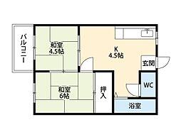 福岡県北九州市小倉北区下到津3丁目の賃貸アパートの間取り