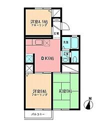 神奈川県海老名市今里3の賃貸アパートの間取り