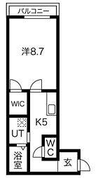 JR山手線 高田馬場駅 徒歩5分の賃貸アパート 3階1Kの間取り