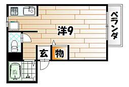 福岡県北九州市戸畑区銀座2丁目の賃貸アパートの間取り