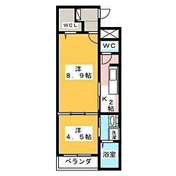リバーサイド桜坂[1階]の間取り