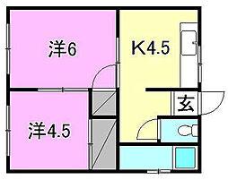 平岡ビル[302 号室号室]の間取り