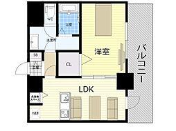 meet Me 梅田西 10階1LDKの間取り