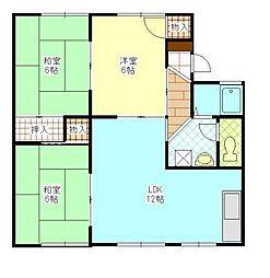 岡山県岡山市東区可知5の賃貸アパートの間取り