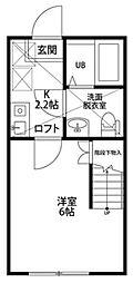 神奈川県秦野市鶴巻南1丁目の賃貸アパートの間取り