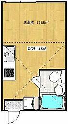 小田急小田原線 鶴川駅 徒歩13分の賃貸アパート 2階ワンルームの間取り