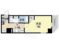 京阪本線 天満橋駅 徒歩7分の賃貸マンション 7階1Kの間取り