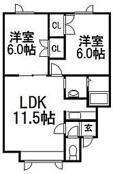 北海道札幌市西区八軒九条東1丁目の賃貸アパートの間取り