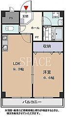 泉北高速鉄道 栂・美木多駅 徒歩14分の賃貸マンション 2階1LDKの間取り