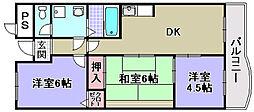 大阪府泉大津市清水町の賃貸マンションの間取り