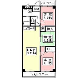 岐阜県岐阜市領下の賃貸アパートの間取り