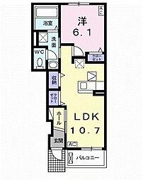 バス 高塚西下車 徒歩3分の賃貸アパート 1階1LDKの間取り