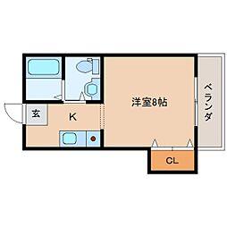 奈良県奈良市井上町の賃貸アパートの間取り