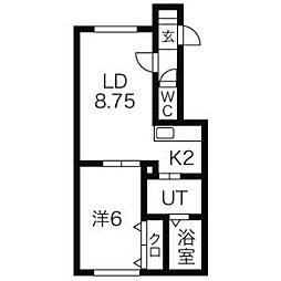 北海道札幌市北区太平8条5丁目の賃貸アパートの間取り