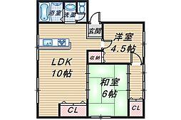 三隆(1)コーポラス[2階]の間取り